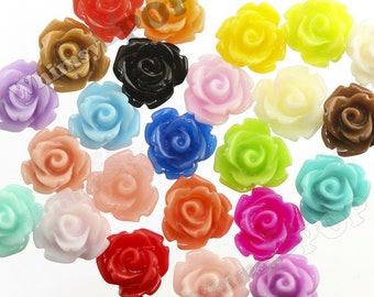 Mixed Color Rose Cabochons, Rose Shaped, Flower Cabochons, Flower Cabs, Flat Back Roses, Flatbacks, Embellishments, Deco, 10x6mm (R1-054/71)