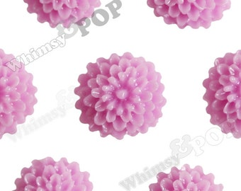 Lilac Purple Tiny Dahlia Flower Cabochons, Flower Cabs, Dahlia Flatbacks, Flat Back Flowers, Flat Backs, 10mm x 5mm (R4-015)