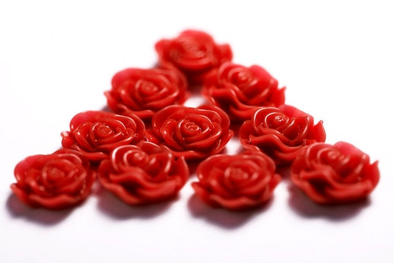Red Flower Cabochons, Rose Shaped, 13mm (R1-045)