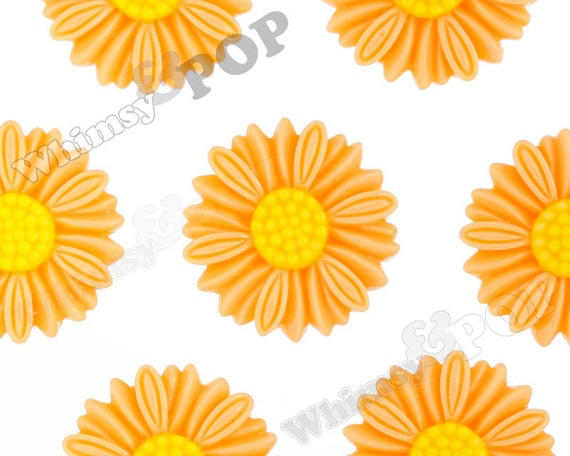 6 - Large Deco Orange Sorbet Daisy Sunflower Resin Cabochons, Flower Shaped, 27 MM x 5 MM