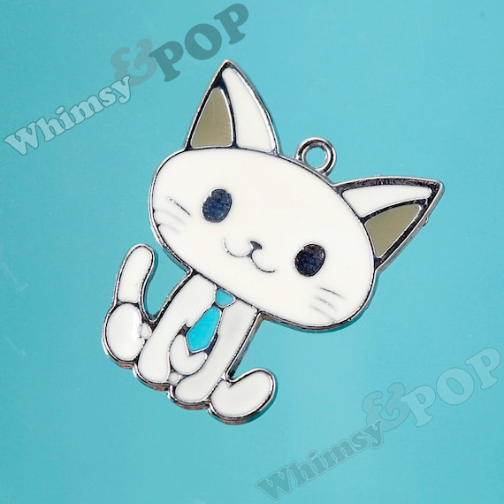 1 - Enamel White Collar Kitty Charm (1-3G)