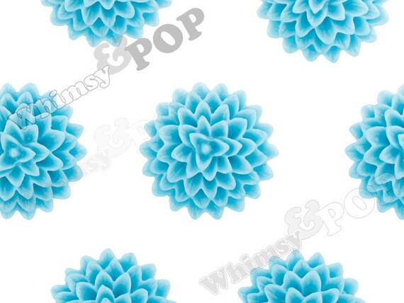 10 - Azul Blue Dahlia Flower Cabochons, Dahlia Cabochons, Mum Shaped, 15mm (R1-027)