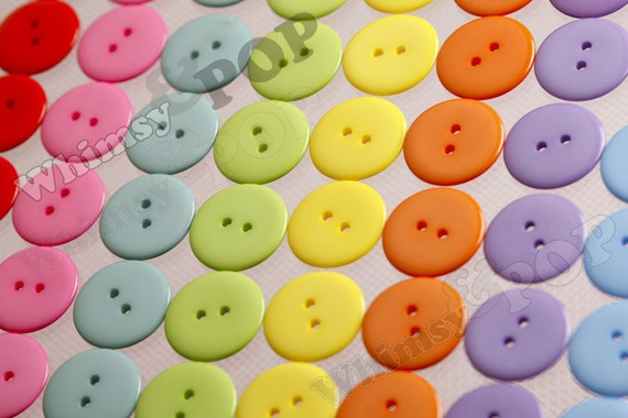 23MM Rainbow Candy Colored Buttons for Sewing Scrapbooking and More, 23mm Buttons (R2-115)