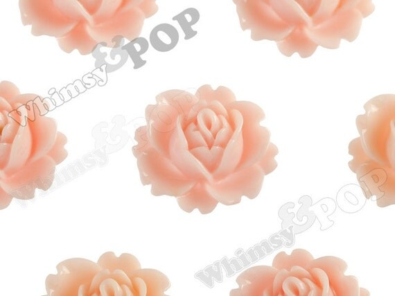 Shabby Chic Peach Peony Flower Cabochons, Vintage Peony, Orchid Cabochons, 18mm x 16mm (R3-030)