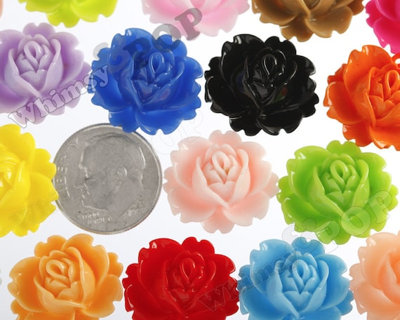 Multi-Colored Peony Flower Cabochons, Vintage Peony, Orchid Cabochons, 18mm x 16mm (R3-021)