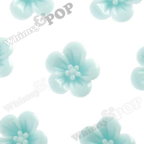 Aqua Blue Hibiscus Flower Cabochons, Hibiscus Cabochon, Flower Shaped, 13mm x 5mm (R2-044)