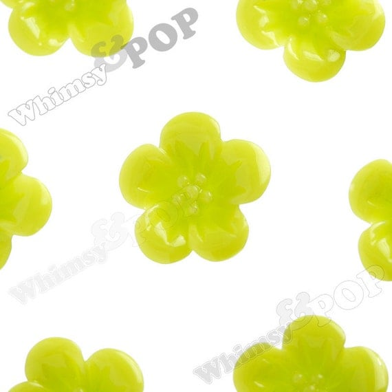 10 - Lime Green Hibiscus Flower Resin Cabochons, Flower Shaped, 13 mm x 13 mm x 5 mm (R2-042)