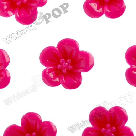 Hot Pink Fuchsia Hibiscus Flower Cabochons, Flat Back Embellishment, Hibiscus Cabochon, Flower Shaped, 13mm x 5mm (R2-046)