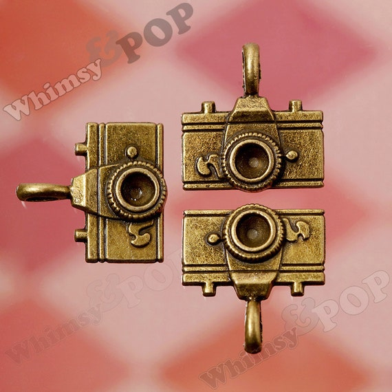 Antique Bronze Camera Charms, Camera Charms, 22mm x 21mm (R5-226)