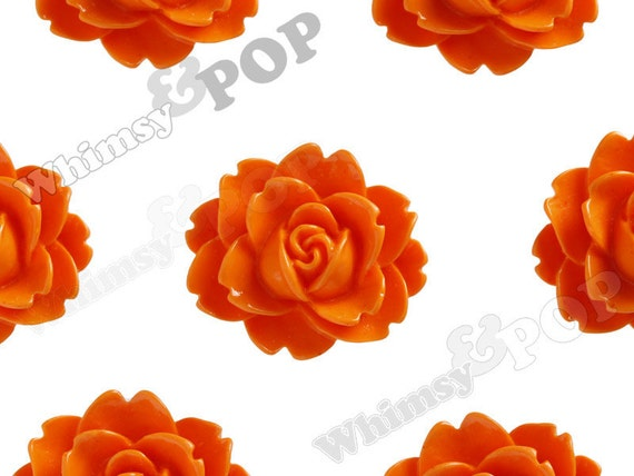 10 - Manderine Orange Cabbage Rose Flower Resin Cabochons, Flower Shaped, 18 MM x 16 MM x 6 MM