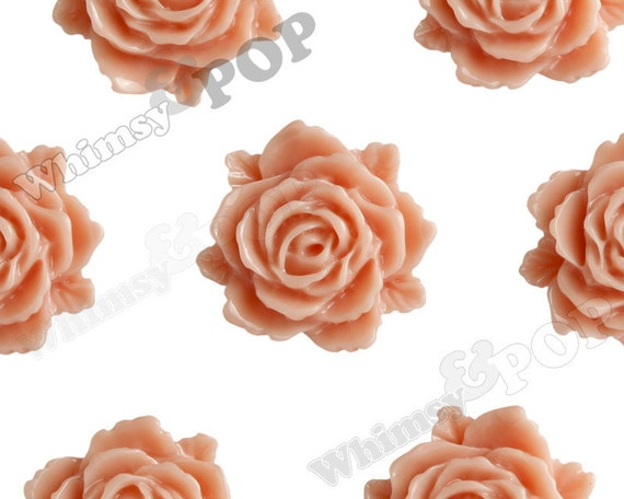 Coral Bloomin' Rose Small Resin Cabochons, Rose Cabochons, Flower Cabochons, Flower Cabs, Flatback Roses, 12mm x 11mm (R2-023)