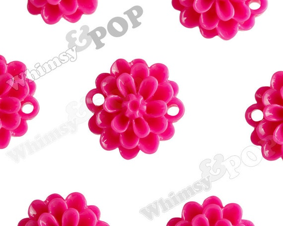 Fuchsia Small Dahlia Bead / Cabochons, Flower Cabochon, Flower Bead, Flower Connector, Resin, 14mm (R2-029)