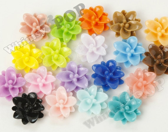 100 - Mixed Colors Lotus Flower Resin Cabochons, 12mm (R1-126)
