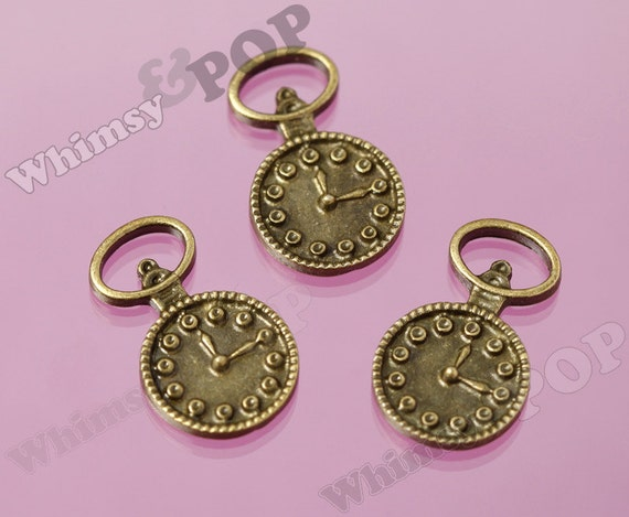 3 - Antique Bronze Clock Charms, 26 mm  x  15 mm (2-2J)
