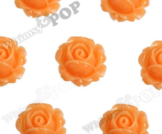 Vintage Deco Soft Orange Rose Bud Resin Cabochons, Flower Cabochons, Rose Cabochons, 15mm x 8mm (R1-089)