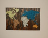 Nail Wall Art World Map, Coastal Palette