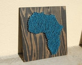 Teal Africa Ebony Stained Wood Wall Art