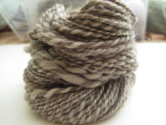 Grand Opening Sale - Natural Browns Simply Merino - Thick and Thin Handspun Yarn - 42 yards
