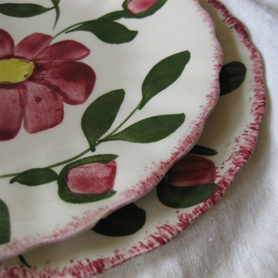 Two Vintage Hand Painted Red Nocturne Plates