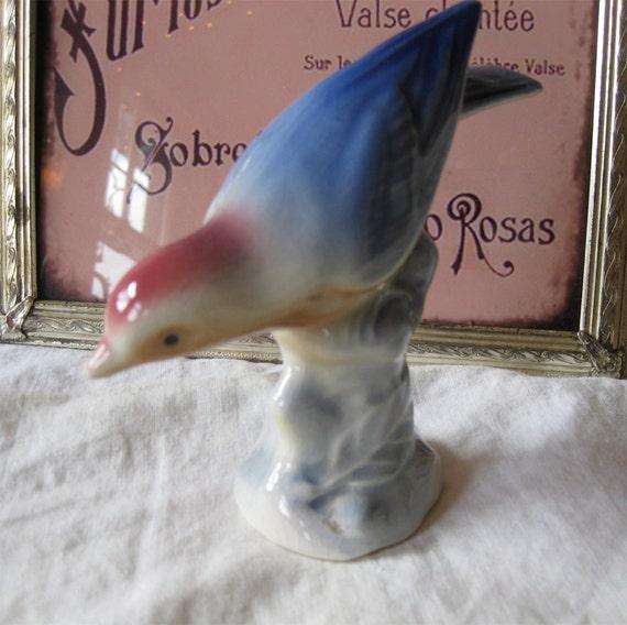 Royal Copley Bird - Pink and Blue - Vintage