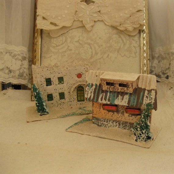 SALE - Putz Mica Houses - Vintage - Set of Two