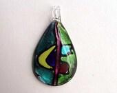 Pendant Glass Lampworked aqua green black foil Focal  62 x 35mm