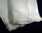 Vintage Cotton Hand Crochet Lace Edged White Pillow Case Set