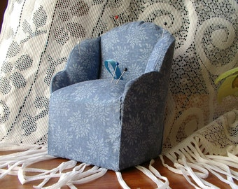 Old fashioned chair pincushion with under seat storage for notions