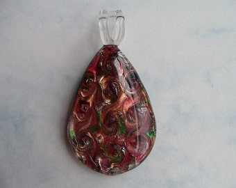 Lampworked focal pendant mauve foil oval drop pendant 65 x 35mm