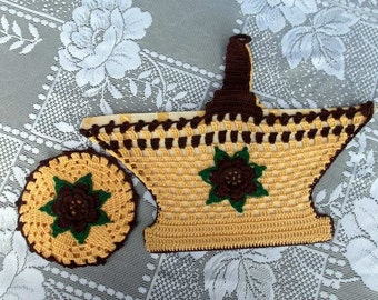 Vintage Hand Crochet Country Kitchen Pot Holders Wall Decor Coaster