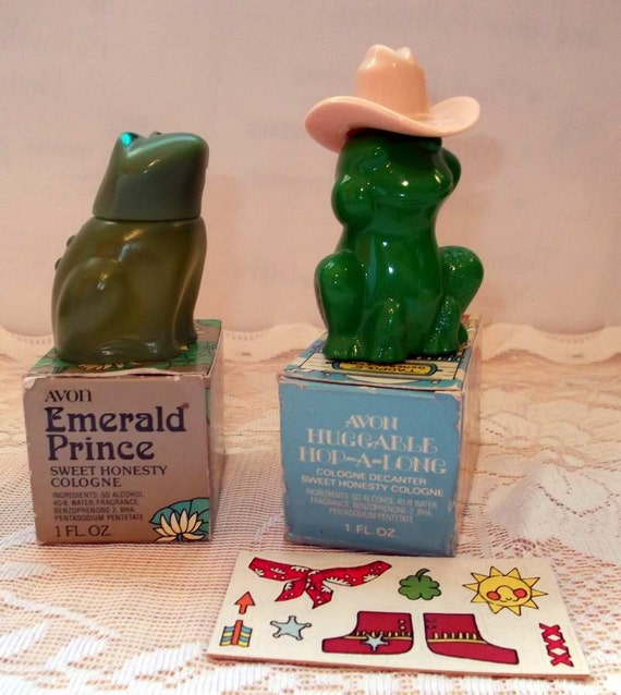 New Avon Emerald Prince and Huggable Hop-A-Long Frog Decanters 1980s