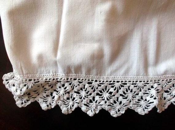 Vintage Pillow Case White with Hand Crochet Lace Trim