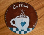 7 inch round Coffee themed decor, Country Coffee