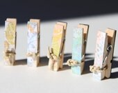 "Mini Clothespin Magnet Set of 5 - ""Soft Pastels"" Collection"