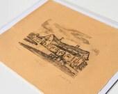 SALE // Original Barn Monotype Print