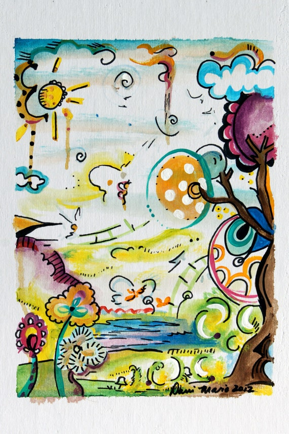 """Colorful Abstract Original Painting """"Amongst the Butterflies"""""""