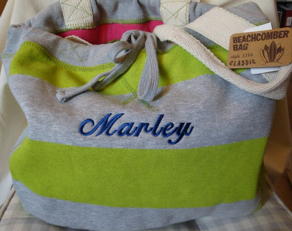 Embroidered Monogrammed Jersey Beach Pool Bag