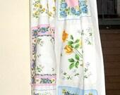 KITCHEN Curtain PANEL Hankies on WHITE Cotton. Handmade Vintage look. Assorted  Handkerchiefs. 1 One Panel