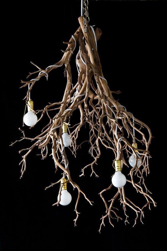 chandelier natural wood tree branch sculptural lighting on etsy