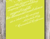 Wedding Invitation - All Script - Digital File