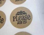 RESERVED for Arianna - Invitation Envelope Seals on Kraft  - 60