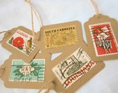 The South Postage Stamp Gift Tags - Kraft with Jute - 5