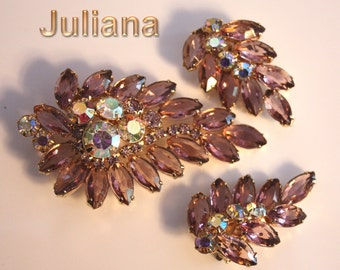 Vintage Juliana Lilac Aurora Borealis Rhinestones Pin Set  Brilliant color Large over 3 inches pin