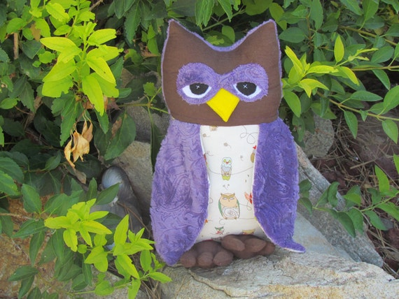 Handmade Large stuffed Owl pillow or toy - Soft purple Paisley Minky with Alexander Henry's spotted owl cotton material