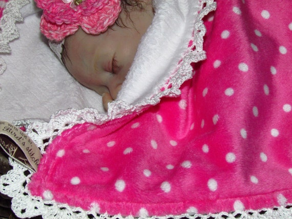 "Minky baby blanket on sale - Double minky - 32""X36"". Hand crochet lace trim. Ready to ship."