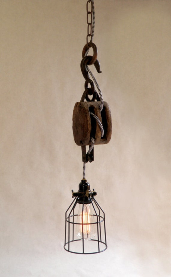 Items Similar To Vintage Industrial Pulley Light On Etsy
