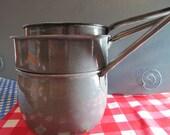 Three Vintage Graniteware Saucepans - Double-boiler Set