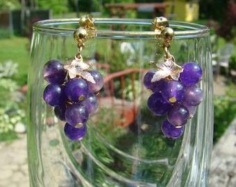 Genuine Amethyst Grape Cluster Earrings