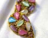 Vintage Capri Gold & Pastel Cat Eye Cabochon and Crystal Rhinestone Floral Teardrop Earrings: SIGNED