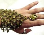 SALE Vintage Gold Ethnic Link Belly Dance Slave Bracelet with Ring